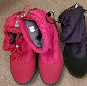 DKNY BOOTS. RED PAIR NEVER WORN, BLACK PAIR BARELY
